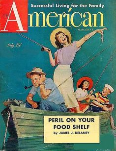 because, of course, everyone goes fishing wearing a smart blouse and skirt!! lol!! (American Magazine July 1951) I do like the outfit; it's just so incongruous here, though.