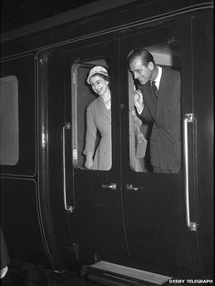The Queen and The Duke of Edinburgh arriving at Derby Midland Station, March 1957