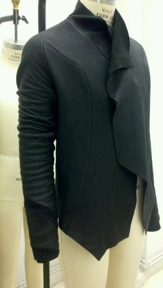 black leather asymmetric jacket.  $375