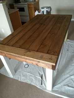 Rustic dining room table made for under 60 bucks.