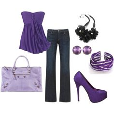 I like that flowy purple top. This outfit has too much purple, though, even for me. I'd tone it down with a complementary color.