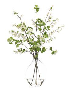Dogwood (WF564): Dogwood Viburnum Branch, White Green, Glass Bubble,30w24d45h
