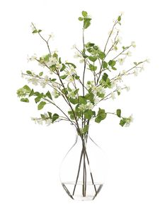 Dogwood (WF564): Dogwood Viburnum Branch, White Green, Glass Bubble,30w24d45h