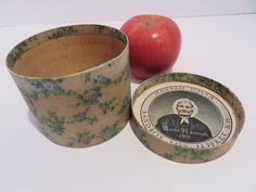"3"" ANTIQUE HANNAH DAVIS 1855 WALLPAPER COVERED BANDBOX WITH LABEL, AAFA, NR | eBay"