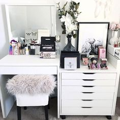 IKEA Alex 6 Drawer unit- IKEA Stool- IKEA Mirror- Officeworks student desk.- All acrylic makeup storage @vanitycollections