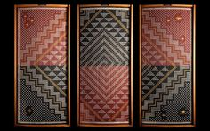 Te Ao Hurihuri (The changing world), tukutuku (woven wall panel), by James and Catherine Schuster, Te Rōpū Raranga Whatu o Aotearoa (National Collective of Māori Weavers in New Zealand). Photograph © Craig Robertson, Full Frame Photography Ltd. Hawaiian Tribal Tattoos, Samoan Tribal Tattoos, Maori Tattoos, Maori Designs, Flax Weaving, Paper Weaving, Weaving Art, Maori Patterns, International Craft