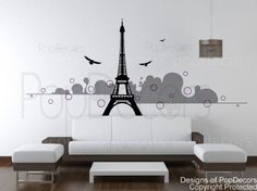 """I love this, this would look awesome on my bedroom wall.....PopDecors Vinyl wall decals - Eiffel tower(50"""" H) - Removable Modern sticker wall decor wall murals living room by Pop Decors, http://www.amazon.com/dp/B00636XHY6/ref=cm_sw_r_pi_dp_CzT1pb1RJCQJF"""