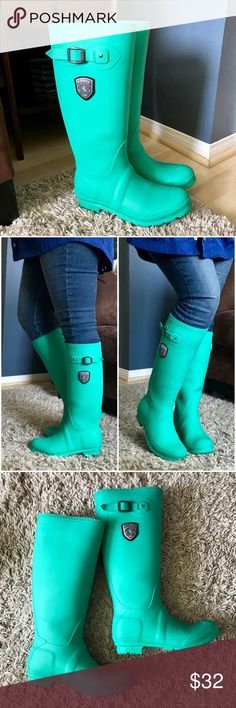 """Kamik Tall Jennifer Rain Boots In """"Simply Green"""" Worn for one winter season in both rain & snow. The color is a wonderfully vibrant bright minty green. Truly the most comfortable rain boots I've owned, just a little too tall for my short frame (worked great for deep mountain snow!) Great overall condition. Some scuffs throughout, but they are difficult to pick up on camera, I tried to be thorough. One of the buckle fasteners is a bit loose. It has popped out in the past on one side, but can…"""