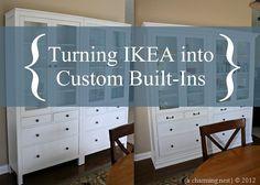 A CHARMING NEST: Turning IKEA into Custom Built-Ins! PART II http://acharmingnest.blogspot.ca/2012/09/turning-ikea-into-custom-built-ins-part_30.html