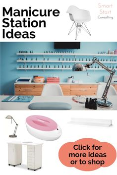 Find the perfect inexpensive supplies and decor for your manicure station!  AD- Allin one easy to find spot! #manicurestation #nailtechdesk #spadecor Nail Salon Decor, Beauty Salon Decor, Spa Design, Salon Design, Manicure Station, Tech Room, Esthetics Room, Business Hairstyles, Medical