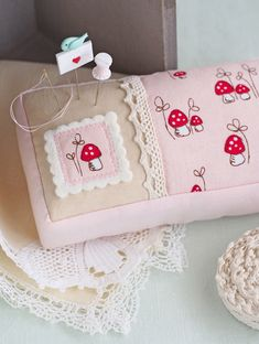 In love with this pretty pincushion made Pretty By Hand using Little Red Riding Hood mushroom fabric! So sweet!