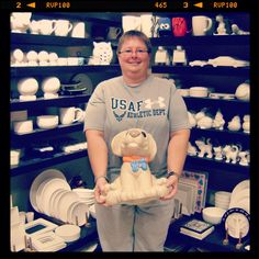 Our good friend Tina just finished painting an extra large dog bank! How much $ do you think can fit in it? #pottery