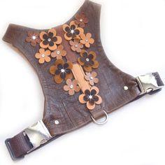 Small Dog | Choke Free | Brown | Leather | Leather Flowers | Rhinestones | Dog…