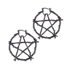 New! Branch Pentagram Hoops from Restyle #restyle #pentagram #pentgramhoops #pentagramearrings #earrings #wood #occult #pagan #witch #witchy #whatwitcheswear