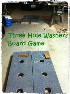 Build a Three Hole Washers Board Game : 5 Steps (with Pictures) - Instructables Diy Yard Games, Lawn Games, Backyard Games, Outdoor Games, Outdoor Fun, Backyard Ideas, Dice Games, Backyard Playground, Outdoor Toys