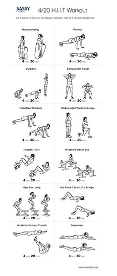 HIIT - A Different Kind of High:) Do the exercises in this High Intensity Interval Training Workout without resting between exercises. Rest for then repeat for a total of 4 sets. Time to Burn It Up! Interval Training Workouts, Hitt Workout, Treadmill Workouts, High Intensity Interval Training, At Home Workouts, Male Workouts, Tabata, Workout Challange, Workout Fun
