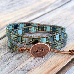 Teal Wrap Bracelet, Turquoise Bracelet, Wrap Bracelet, Unique Wrap Bracelet, Boho Wrap Bracelet, Tile Beads, Turquoise Wrap Bracelet by bluefishBohemian on Etsy