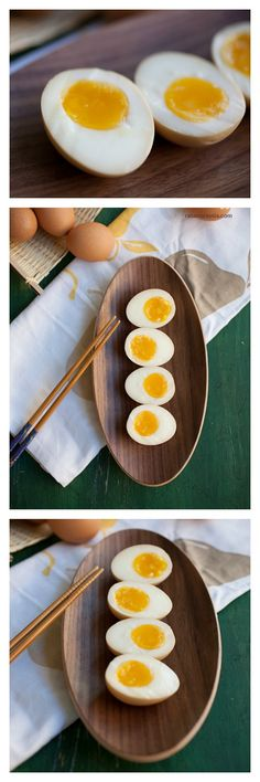 Ramen eggs (Japanese marinated eggs for ramen). Boil eggs for 7 minutes and marinate in seasoning sauce to make ramen eggs. Japanese Ramen Egg Recipe, Japanese Egg, Japanese Dishes, Japanese Recipes, Ramen Japanese, Egg Recipes, Asian Recipes, Cooking Recipes, Noodle Recipes