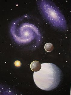 Galaxies an gas giant planet painting by StellarDreamer, via Flickr
