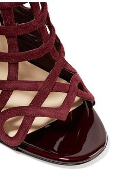 Christian Louboutin - Cajac 100 Suede Sandals - Burgundy - IT40.5
