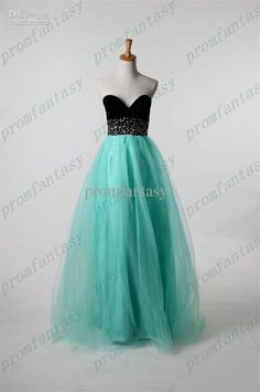 Awesome mint and black prom dress