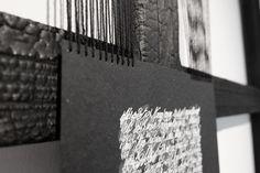 """""""Résurrection"""", par Ann Grim. Visible à la Mannerheim Gallery à Paris. Acrylique sur papier, cordons de coton, châssis brulé.  Remerciements a Thierry de Beaumont pour les textes originaux."""
