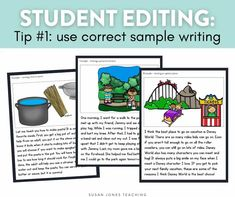 How do you teach kindergarten, first grade, and second grade students to edit their own writing?! I like to use CORRECT sample passages when showing students what to look for while editing. Head on over to the blog post to read why.