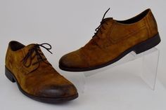 Men's Clarks Wallace Cap Toe Distressed Brown Leather Oxfords Size 12 M #Clarks #Oxfords