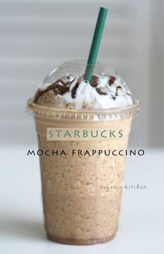Forget about heading to Starbucks for coffee fix and make your own mocha Frappuccino at home! Today I'm making homemade Starbucks mocha Frappuccino. This is a copycat clone, not Starbucks' proprietary recipe. Save time, money, and most importantly yoursel Starbucks Drinks, Starbucks Caramel, Cafeteria Menu, Homemade Frappuccino, Starbucks Mocha Frappuccino Recipe, Homemade Starbucks Recipes, Coffee Frappuccino, Caramel Frappuccino, Coffee Recipes