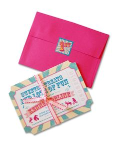 carnival invitation that looks like a ticket | The complete package came tied in a coordinating blush pink and ...