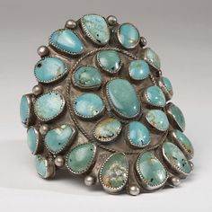 Cluster Cuff | Artist ? (Navajo).  Silver and Turquoise. Circa 1960