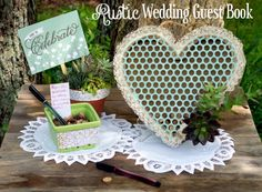 Create a Rustic Wedding Guest Book with a pre-fabbed heart pallet from Old Time Pottery