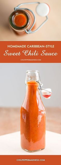 Homemade Hot Sauce!  Caribbean-Style Sweet Chili Sauce - Make your own hot sauce at home with this sweet Caribbean style chili sauce recipe. Sweet and heat!