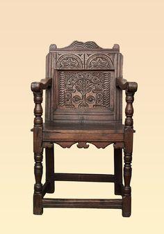 Taunton carved oak wainscot chair circa 1620, Marhamchurch antiques