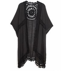 KW Fashion Crochet Kimono Coverup (£53) ❤ liked on Polyvore featuring swimwear, cover-ups, crochet swimsuit, swimsuit cover ups, swim suit cover up, crochet cover up and crochet bathing suit