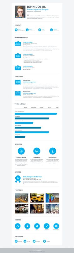 Waterli is simple, but effective premium resume template designed for those who want a simple design with advanced features. Unique icons for each resume section, awesome portfolio and simple, but great animated bar chart make Waterli resume template unique in every aspect. #jobsearch #careers #jobs #resume #resume template