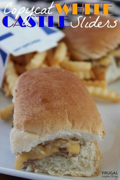 Copycat White Castle Sliders Recipe - Your classic All American Burger with minced onions, melted cheese and dinner roll bun. Details on Frugal Coupon Living.