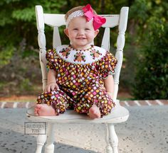 Adorable Polkadot Smocked Turkey Long Bubble . Perfect for Thanksgiving and family photos. Matching bishop, romper and bib dress also available.  $35 www.southerntots.com