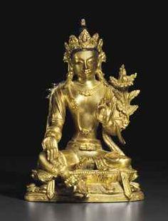 清十八世紀   鎏金銅蓮花手觀音坐像