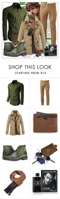"""""""MEN"""" by mamiigou ❤ liked on Polyvore featuring LE3NO, Dockers, Herschel Supply Co., Messico, Giorgio Armani, men's fashion and menswear"""