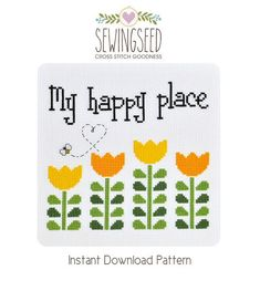 My Happy Place Garden Cross Stitch Pattern Instant von Sewingseed