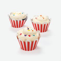 "Circus Cupcake Collars. Fun for a carnival or circus theme party, these paper cupcake collars come with a festive red and white design. 8"" Simple assembly required.  © OTC"