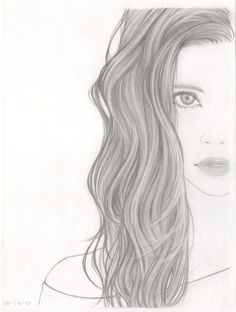 Tumblr Girl Hair Drawing | Girl With Curly Hair Tumblr Drawing Girl, drawing, hair,