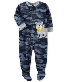 Carter's 1-Pc. Camo-Print Dog Footed Fleece Pajamas, Baby Boys (0-24 months) - Blue 18 months