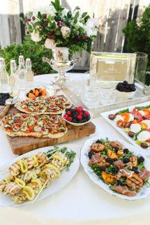 Blackberry gin and tonic Charred summer vegetable flatbreads Arugula with grilled peaches, Parma ham & toasted pistachios  Organic chicken-citrus skewers Heirloom tomatoes & fresh mozzarella with balsamic reduction Berry mascarpone tart + Lemon & almond meringue cookies