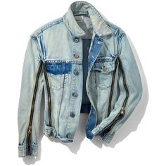 3.1 Phillip Lim Bleached Jean Jacket ($495) ❤ liked on Polyvore featuring outerwear, jackets, denim, indigo, denim jackets, zipper jean jacket, bleached denim jacket, blue jackets and zippered denim jacket