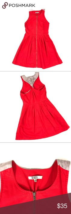 BB Dakota Dress Rick Red dress with grey. Front zip closure & twisted racer back. BB Dakota Dresses