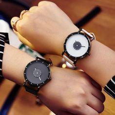 Hot fashion creative watches women men quartz-watch 2017 New brand unique dial design lovers' watch leather wristwatches clock Women's Watches, Quartz Watch, Lovers, Band, Wristwatches, Unique, Leather, Clock, Stuff To Buy