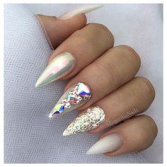 Chrome and glitter nails