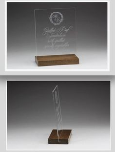 Clear Acrylic with a Walnut Wood Base. These gorgeous signs were designed by the talented Melissa Broderick with Atheneum Creative, made by us. Table Signs, Fort Collins, Acrylic Colors, Walnut Wood, Wedding Signs, Floating Nightstand, Clear Acrylic, Place Cards, How To Memorize Things